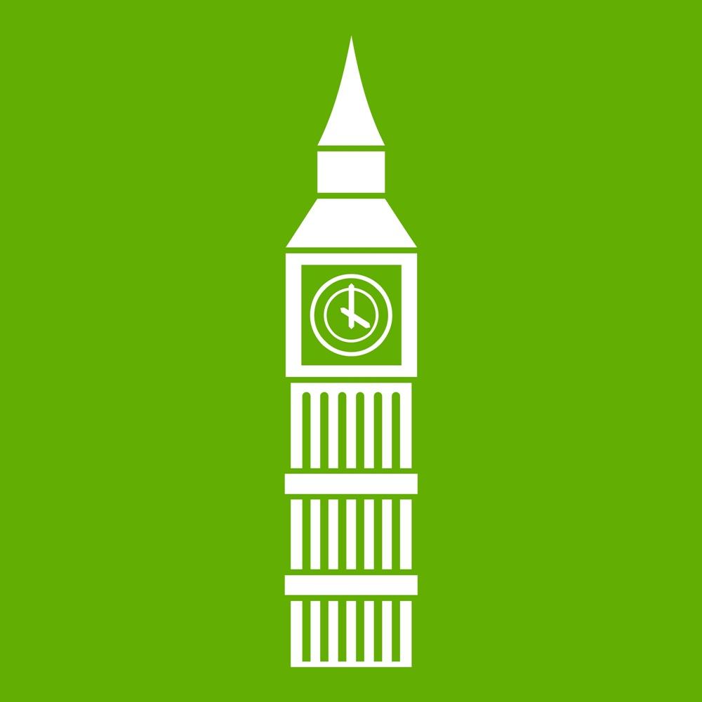 Big Ben clock icon green