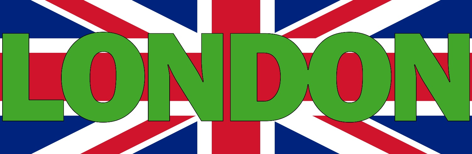 Green London text over UK flag